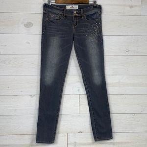 Hollister Grey Paint Splatter Jeans Juniors sz 7